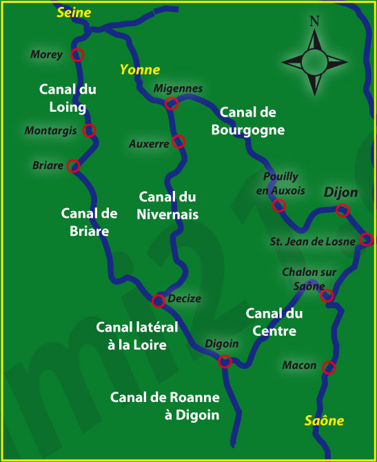 Map Of Rivers In France.A Map Of The Eastern Inland Waterways Of France