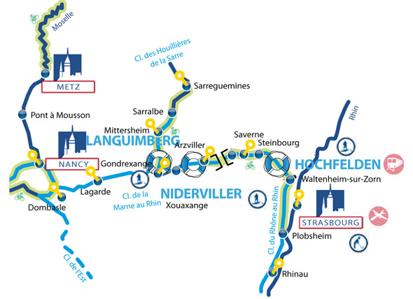 Cruise routes in the Alsace