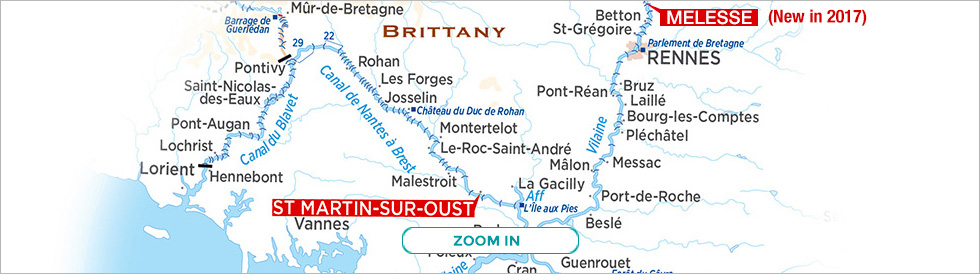 Map of Brittany cruises