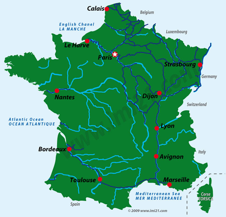 Map Of France In English.The Navigable Canal Waterways Of France