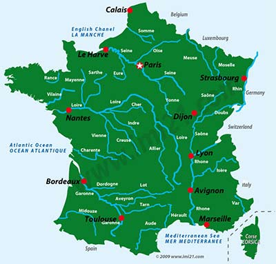 Rivers Of France Map A map showing the main rivers of France