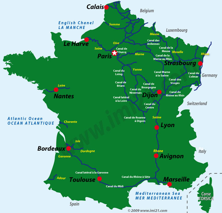 Map of the main navigable canal and river waterways in France