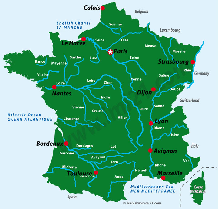 A Map Showing The Main Rivers Of France