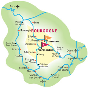 Cruise routes in the Burgundy region of France