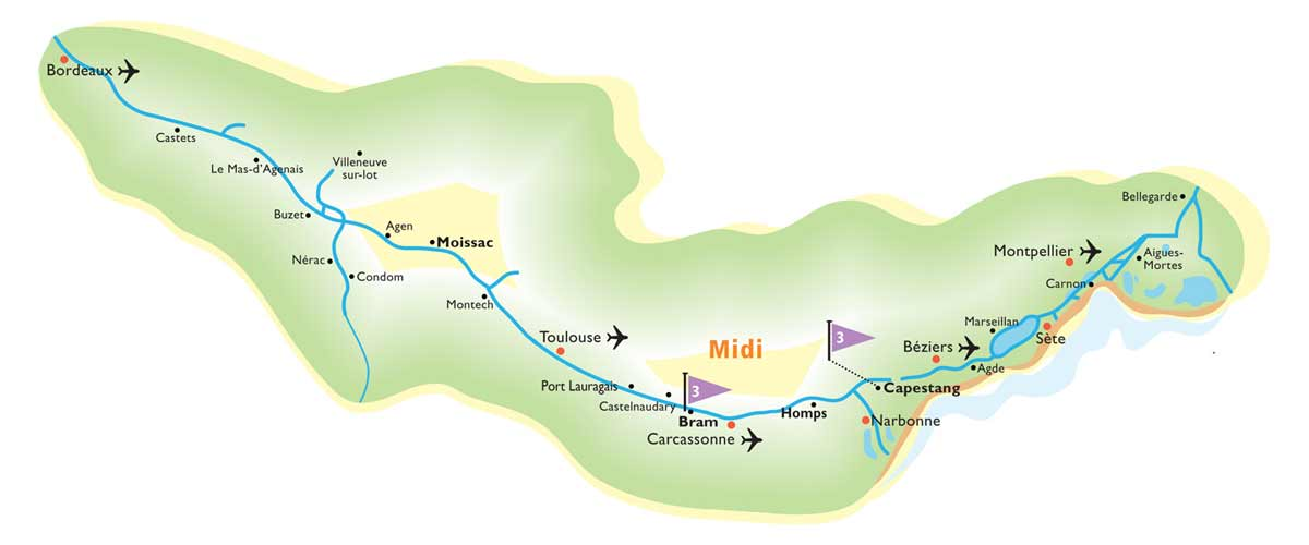 Cruise routes in the Midi region of France