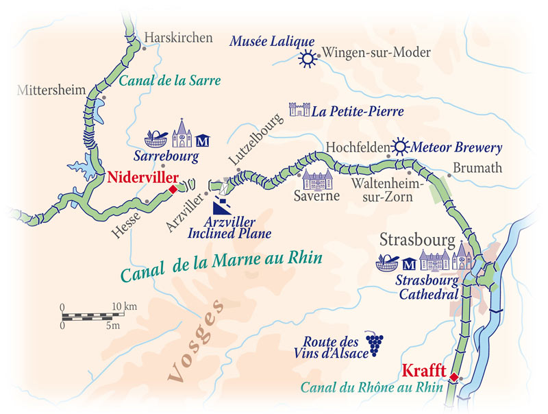 Cruise map for the Panache in Alsace