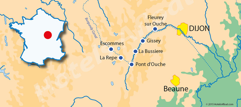 Cruise map for Savoir Vivre in Burgundy