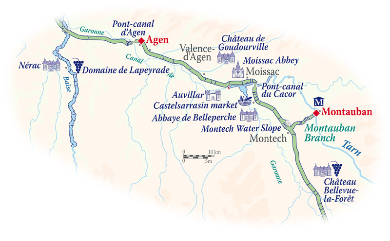 Cruise map for the Rosa in Gascony