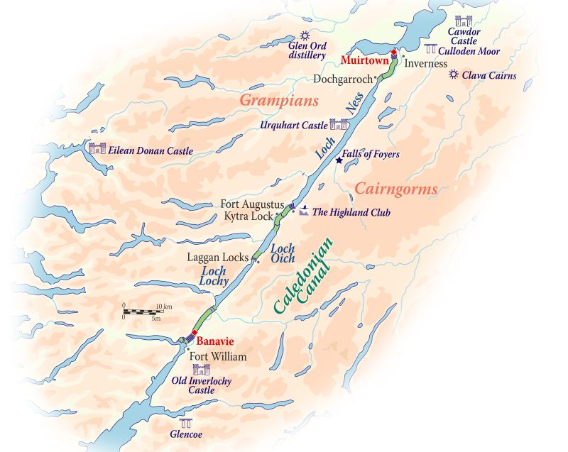 Cruise map for the Spirit of Scotland