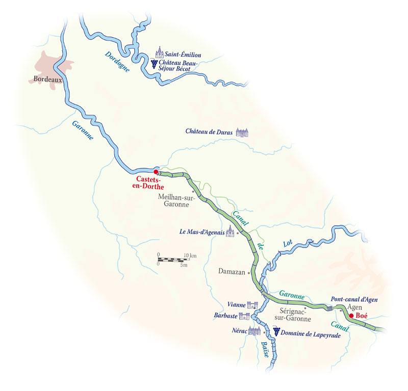 Cruise map for the Rosa in Bordeaux
