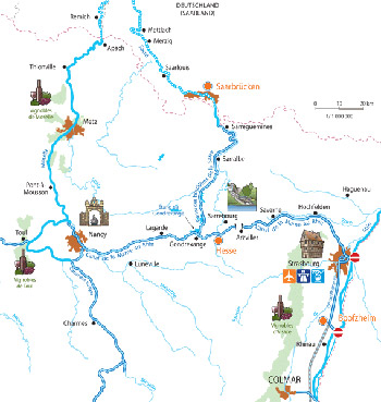 Cruise routes in the Alsace Lorraine