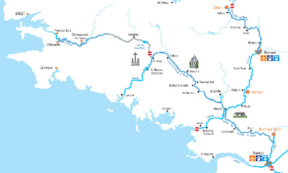 Cruise routes in Brittany