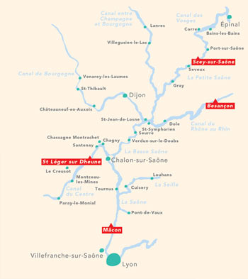 Cruise routes on the river Saone and the Doubs
