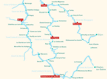 Cruise routes in central France