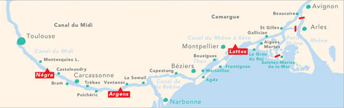 Cruise routes in the Midi, south of France