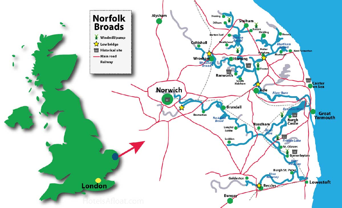Map of the Norfolk Broads
