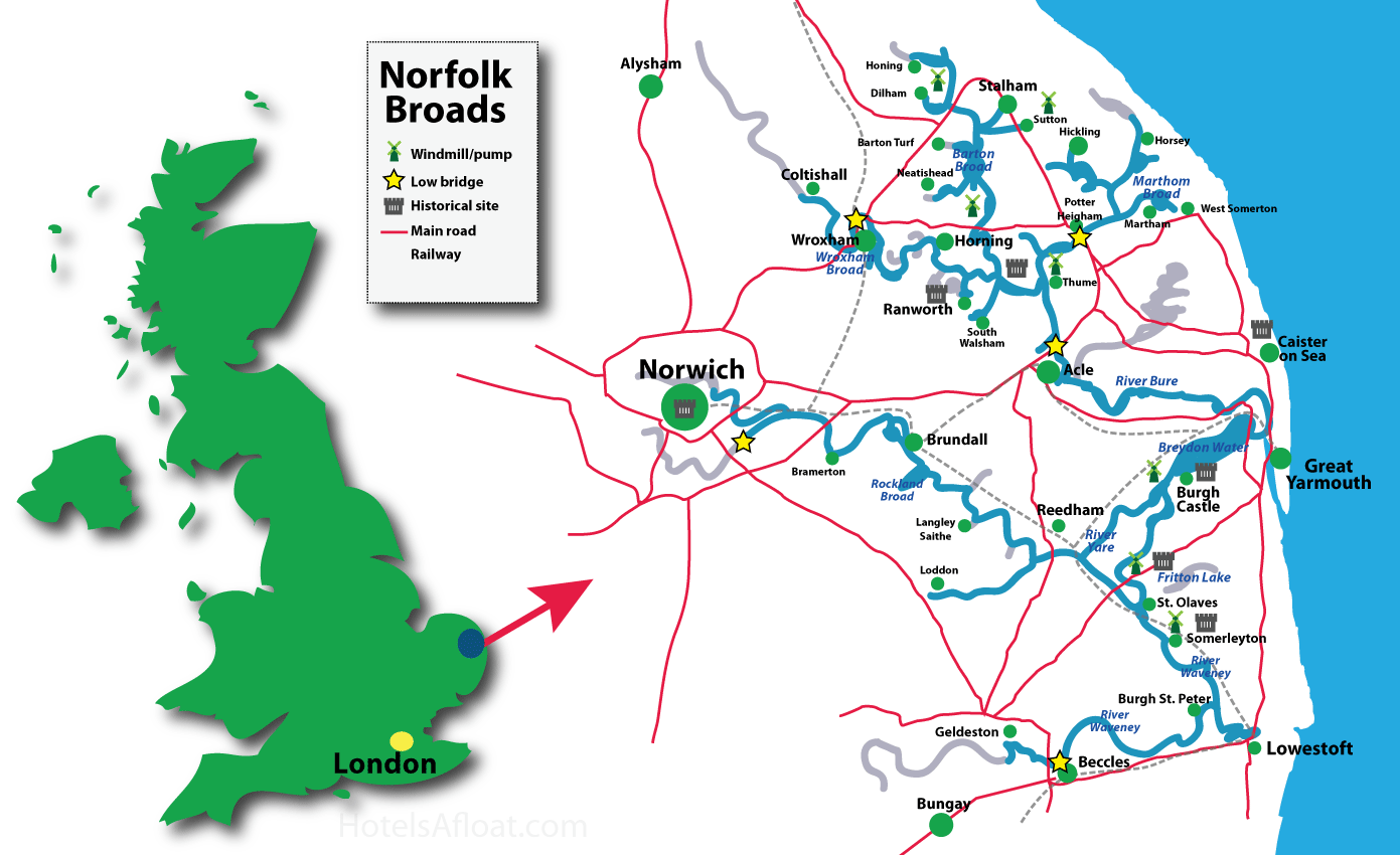 Map Of The Norfolk Broads Map showing the main cruising areas on the Norfolk Broads Map Of The Norfolk Broads
